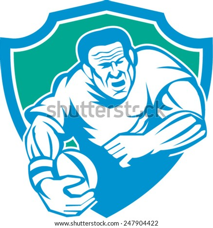 Illustration of a rugby player with ball running attacking set inside shield crest on isolated background done in retro woodcut linocut style. - stock vector