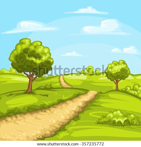 Illustration of a rural spring landscape - stock vector