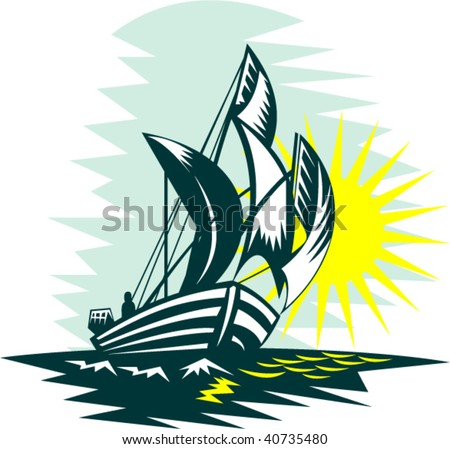 illustration of a sailboat sailing on high seas with sun - stock vector