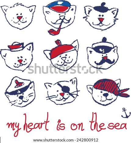 illustration of a 6 sailor cats. print of 6 heads of cats-sailors with inscription. - stock vector