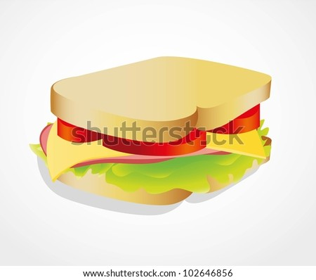 illustration of a sandwich isolated on white background, vector illustration - stock vector