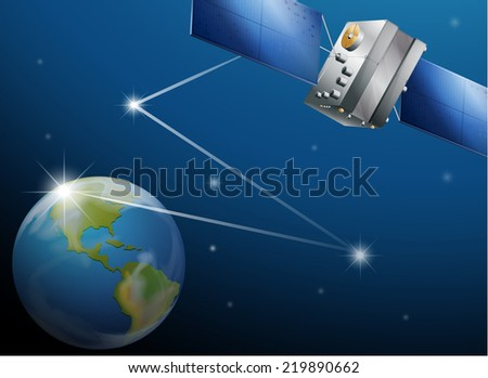 Illustration of a satellite and the planet Earth - stock vector