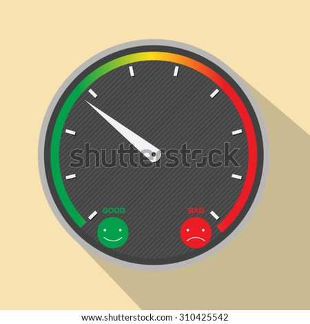 illustration of a satisfaction meter with smilies, vector - stock vector