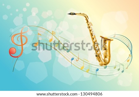 Illustration of a saxophone and the musical symbols - stock vector