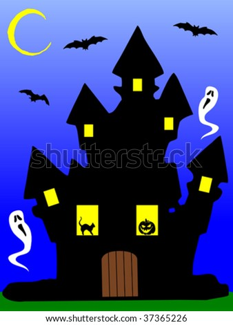 Illustration of a scary haunted house at night, with a pumpkin, phantoms, a black cat and bats - stock vector