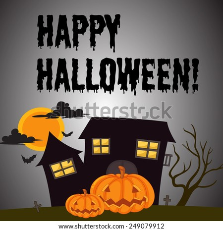 Illustration of a scene from halloween - stock vector