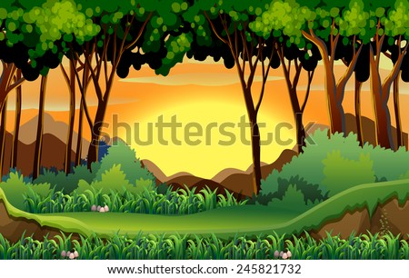 Illustration of a scene of a forest at sunset - stock vector