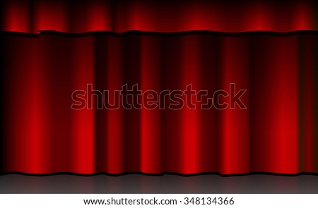 Illustration of a scene with red curtain