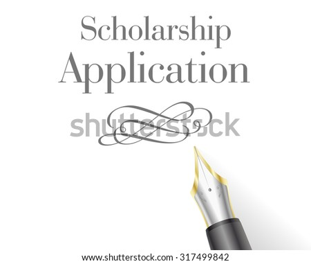 illustration of a Scholarship Application with fountain pen - stock vector