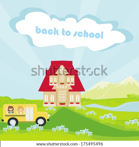 Illustration of a school bus heading to school with happy children  - stock vector