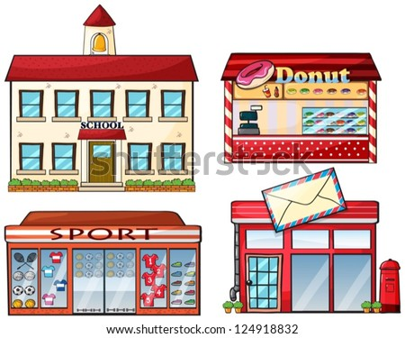 Cartoon Post Office Building And a post office on a