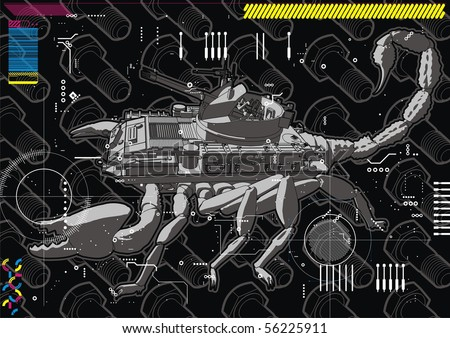 Illustration of a Scorpion Tank hybrid. - stock vector