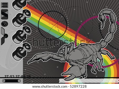 Illustration of a Scorpion with abstract design elements. - stock vector