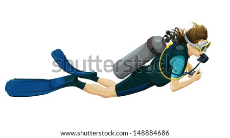 Illustration of a scuba diver on a white background. - stock vector