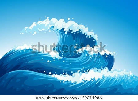 Illustration of a sea with giant waves - stock vector