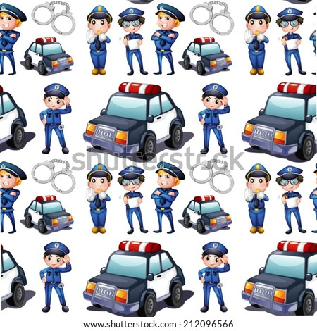 Illustration of a seamless design with policemen and patrol cars on a white background - stock vector