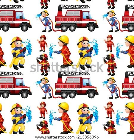 Illustration of a seamless fire truck and firemen - stock vector