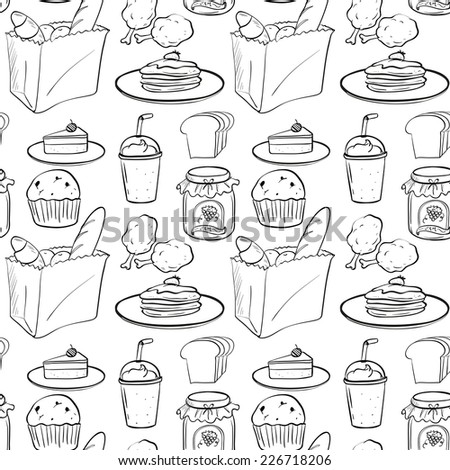 illustration of a seamless food and drinks