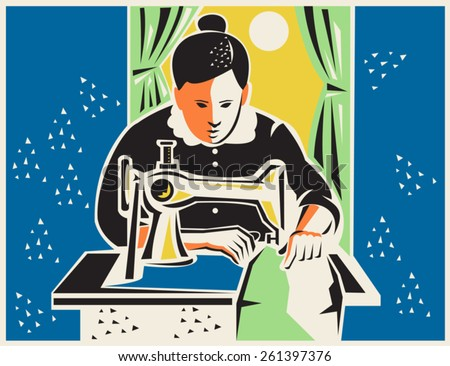 Illustration of a seamstress dressmaker tailor sewing with vintage machine done in retro woodcut style. - stock vector