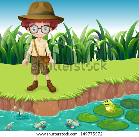 Illustration of a serious looking boy at the riverbank - stock vector
