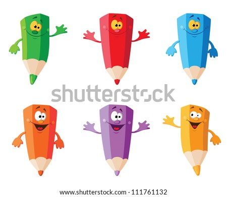 illustration of a set color pencils - stock vector