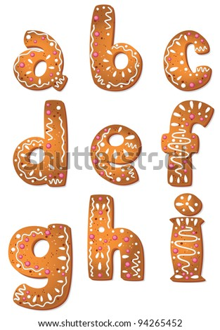 illustration of a set cookie letters A to I - stock vector