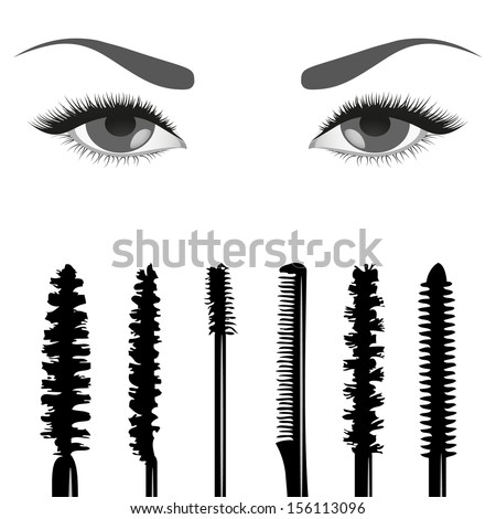 Illustration of a set of brushes mascara and eyes - stock vector