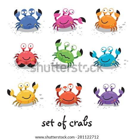 Illustration of a set of cartoon colorful crab characters with various expressions and emotions - stock vector