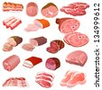 illustration of a set of different kinds of meat - stock vector
