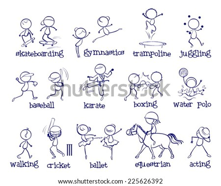 Illustration of a set of different sports - stock vector