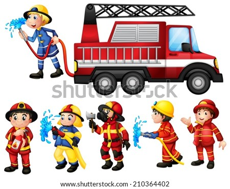 Illustration of a set of firefighters - stock vector