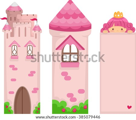 Illustration of a set of Pink Princess Bookmark Printables - stock vector