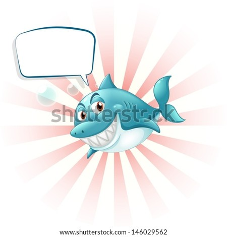 Illustration of a shark with an empty callout on a white background  - stock vector