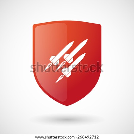 Illustration of a shield icon with missiles - stock vector