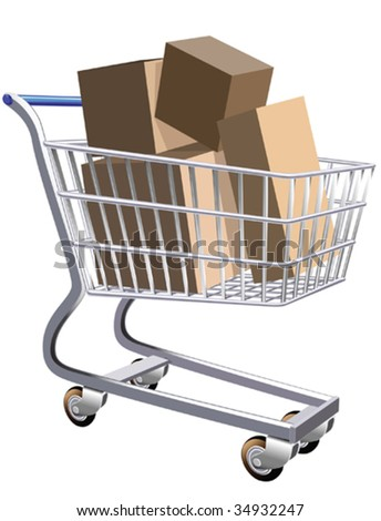 Illustration of a shopping cart full of parcels - stock vector