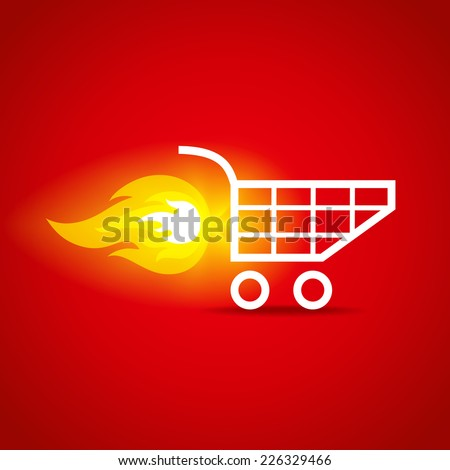 illustration of a shopping cart with flame - stock vector