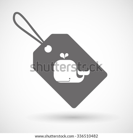 Illustration of a shopping label icon with a whale - stock vector