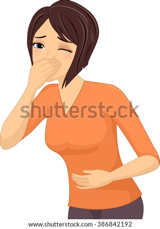 Illustration of a Sick Girl About to Throw Up - stock vector