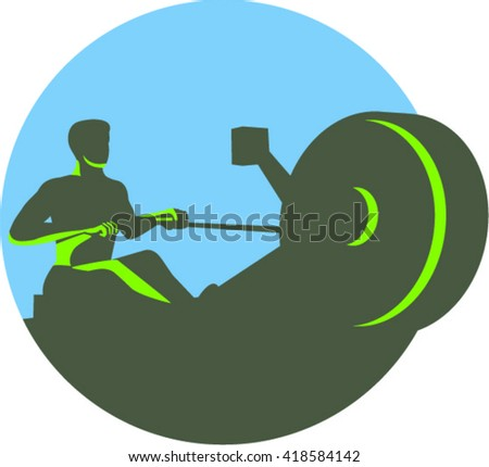 Illustration of a silhouette of a rower exercising on a rowing machine viewed from front set inside circle done in retro style.  - stock vector