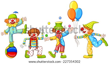 Illustration of a simple drawing of four playful clowns on a white background  - stock vector