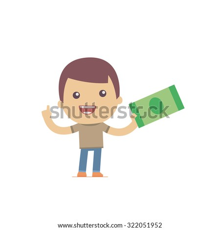 illustration of a simple flat style funny casual character in different situation - stock vector