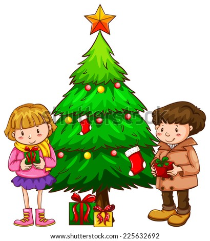 Illustration of a simple sketch of the kids near the christmas tree on a white background  - stock vector
