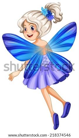 illustration of a single blue fairy - stock vector