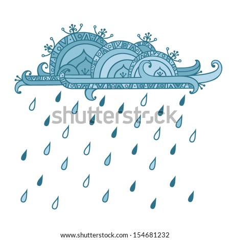 Illustration of a single cloud with rain drops. - stock vector