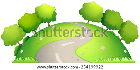 Illustration of a single road surrounded by nature - stock vector