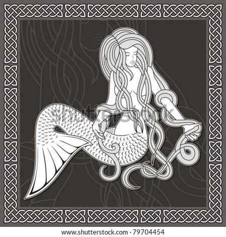 Illustration of a sitting mermaid with long hair on black background and celtic border.