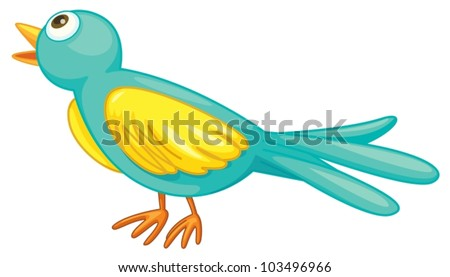 Illustration of a small green bird - stock vector