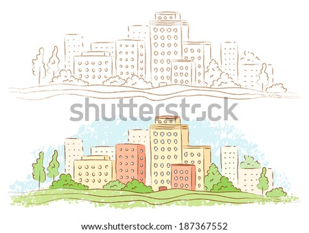 Illustration of a small town - stock vector