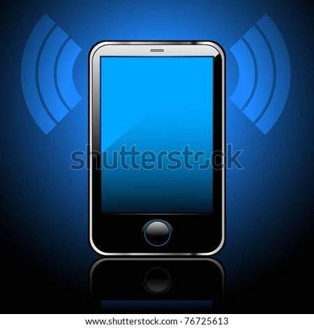 Illustration of a smart phone, a dark blue background. Vector. - stock vector