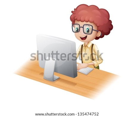 Illustration of a smart young man surfing the internet on a white background - stock vector